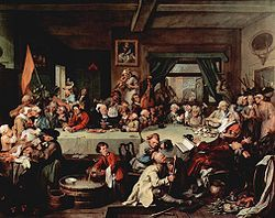 William Hogarth's painting of a spirited 18th century political dinner at a restaurant tavern.